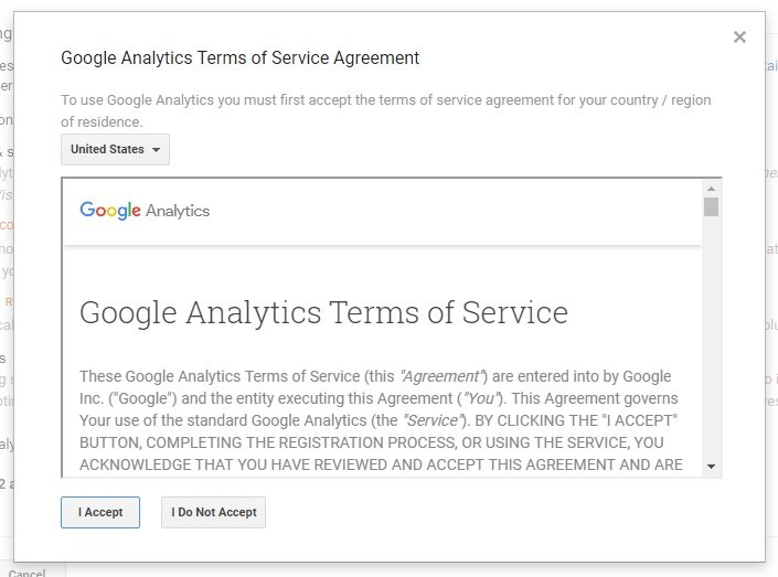 Terms of Service with Google Analytics