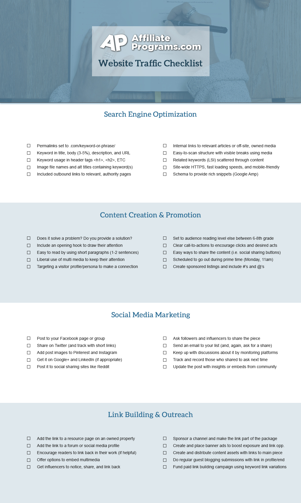 Website Traffic Checklist