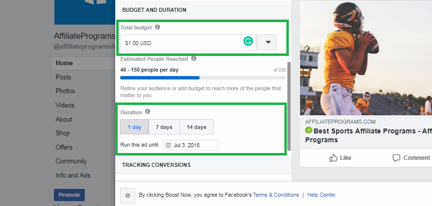 Boosted FB Post Budget and Duration