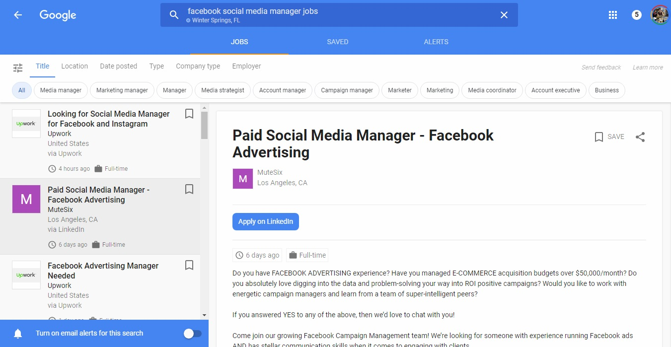 Job Listings for Facebook Social Media Manager