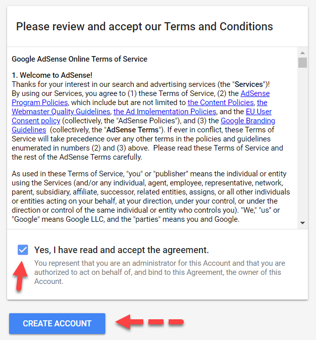 Step 6 - Agree to the Google AdSense Terms
