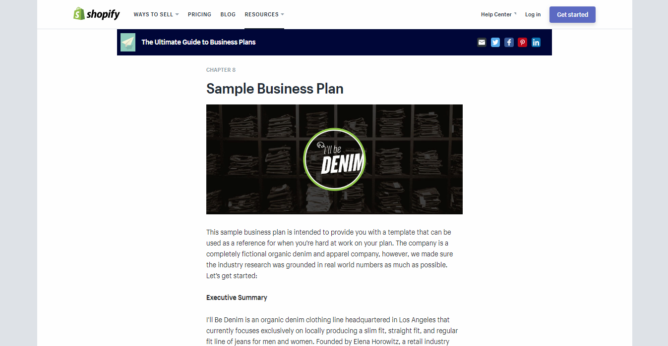shopify business plan example