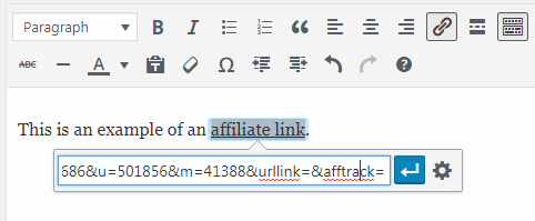 Adding Affiliate Link with Link Tool
