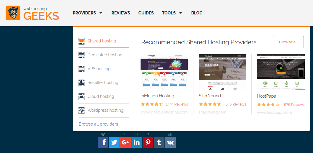 Hosting Geeks Reviews Dropdown